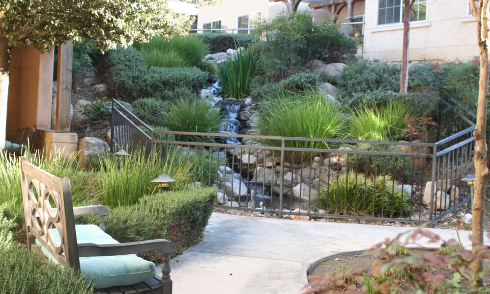 Outdoor water feature at Wildwood Canyon Villa Assisted Living and Memory Care in Yucaipa, California
