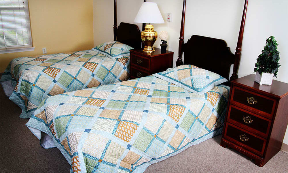 A shared bedroom at Heritage Green Assisted Living and Memory Care in Lynchburg, Virginia