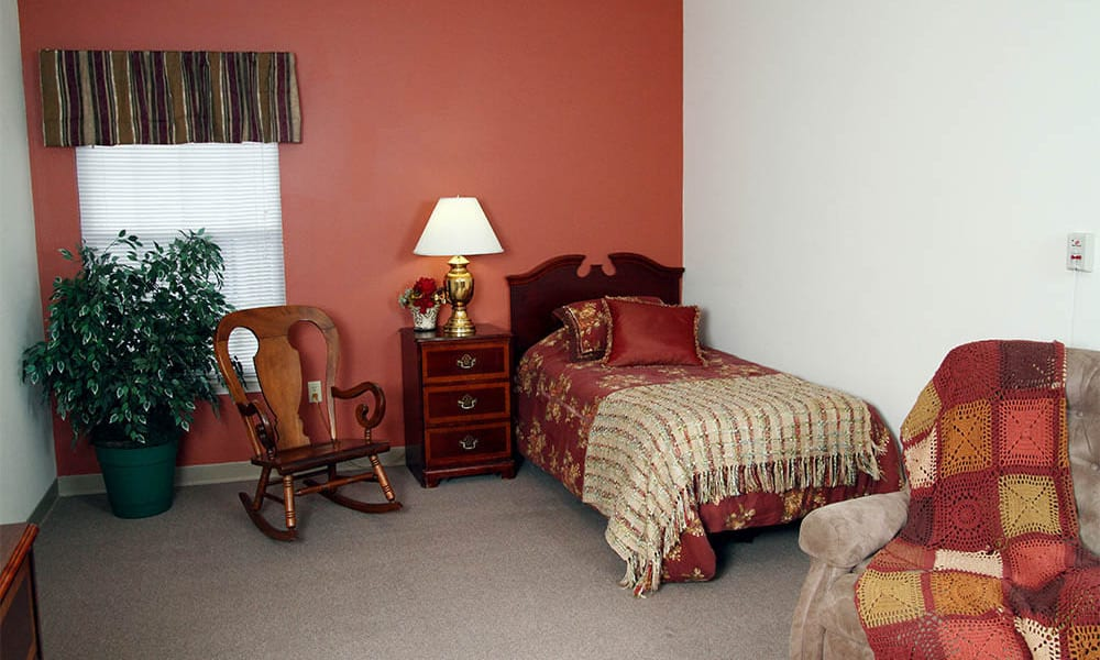 A private bedroom at Heritage Green Assisted Living and Memory Care in Lynchburg, Virginia