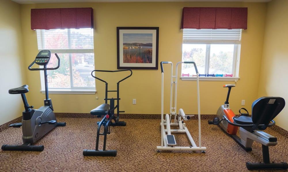Fitness center at Maple Ridge Senior Living in Ashland, Oregon