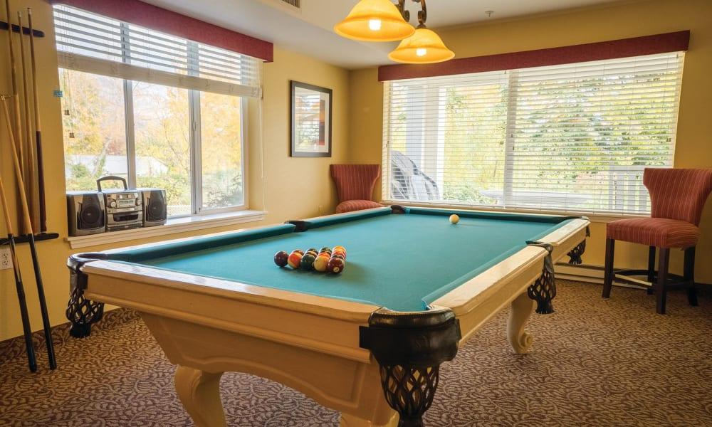 Pool table at Maple Ridge Senior Living in Ashland, Oregon