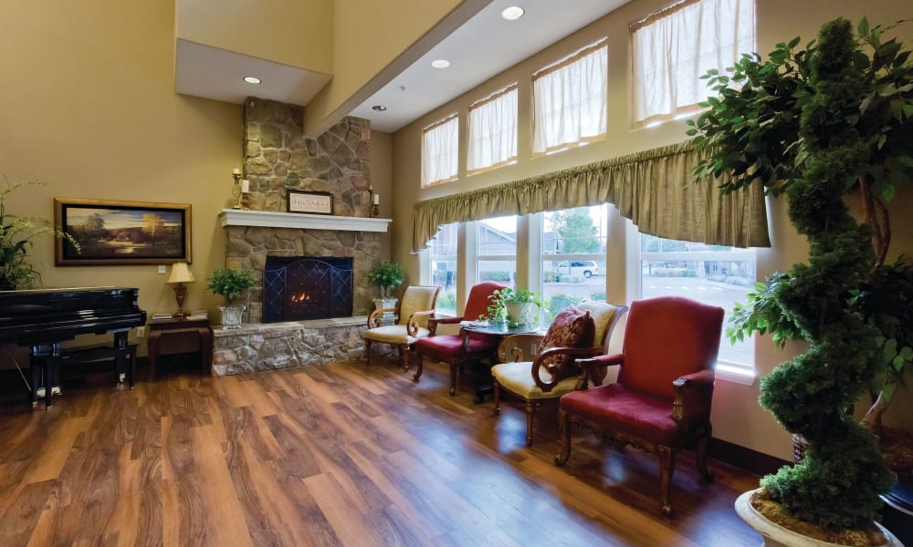 Clubhouse with fireplace at Meadowlark Senior Living in Lebanon, Oregon