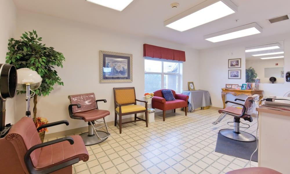 Onsite hair salon at Heron Pointe Senior Living in Monmouth, Oregon