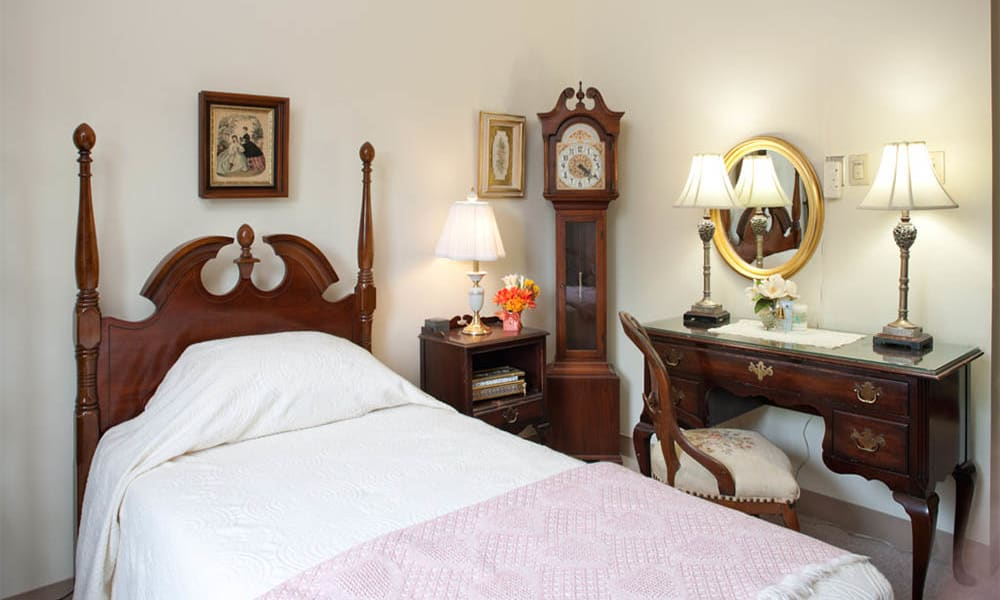 Solo bedroom at Senior Commons at Powder Mill in York, Pennsylvania