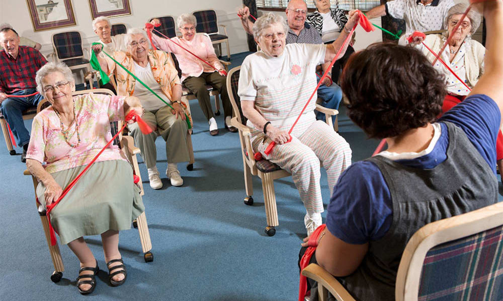 Stretching and physical therapy classes at Senior Commons at Powder Mill in York, Pennsylvania