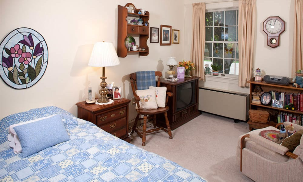 Furnished bedroom at Senior Commons at Powder Mill in York, Pennsylvania