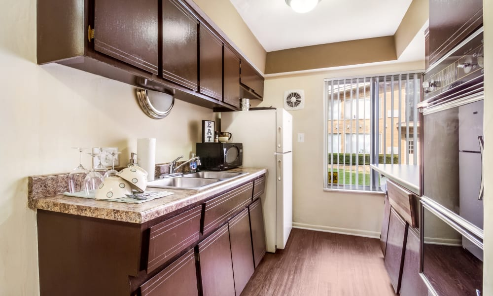 Kitchen amenities at Cavalier Manor in Eastpointe, Michigan
