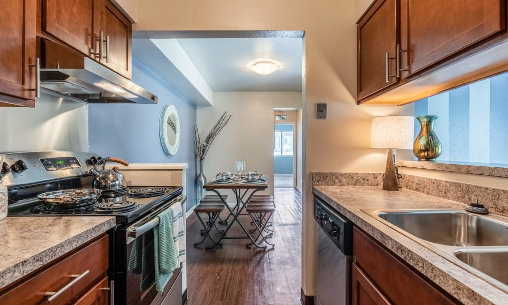 Kitchen amenities at Okemos Station Apartments in Okemos, Michigan