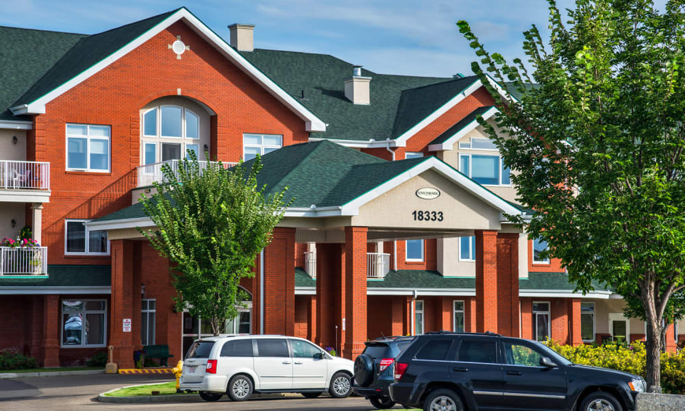 Main entrance at Touchmark at Wedgewood in Edmonton, Alberta