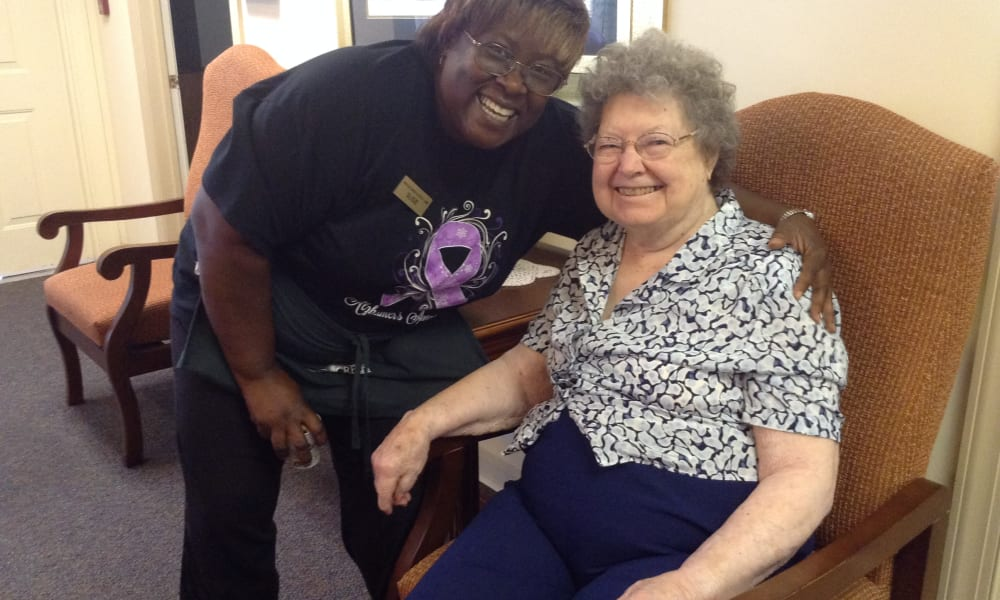 Care worker and resident at Heritage Green Assisted Living in Mechanicsville, Virginia