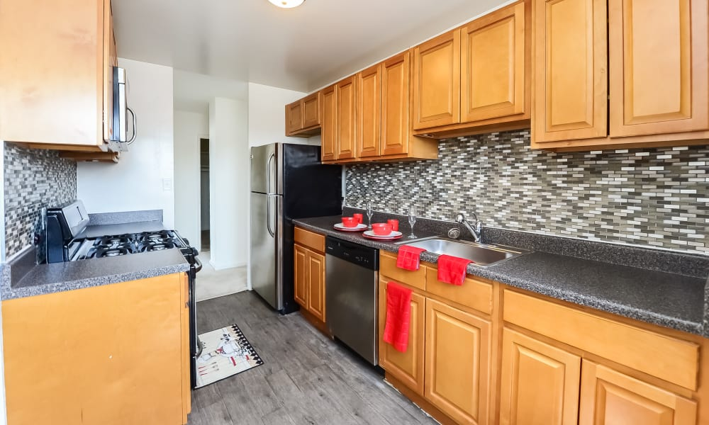 Kitchen at Riverside Towers Apartment Homes in New Brunswick, NJ