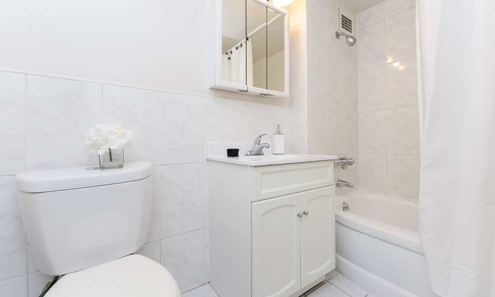 Lovely Bathroom at Riverside Towers Apartment Homes in New Brunswick, New Jersey