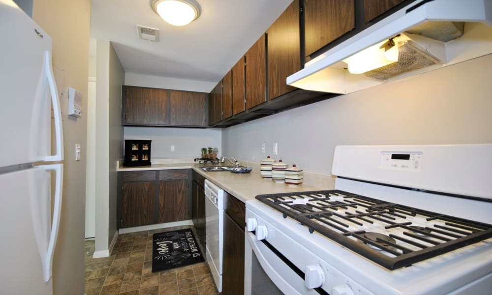 Kitchens with Gas Stoves at Fairway Trails Apartments in Ypsilanti, MI