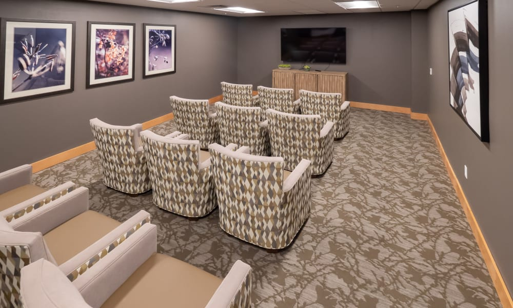 movie theater room at Pear Valley Senior Living in Central Point, Oregon