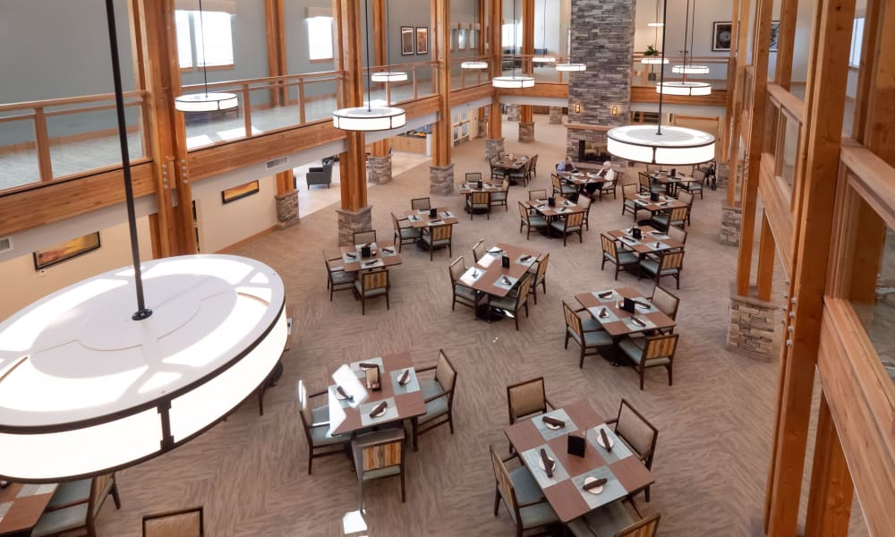 balcony view of community dining room at Pear Valley Senior Living in Central Point, Oregon