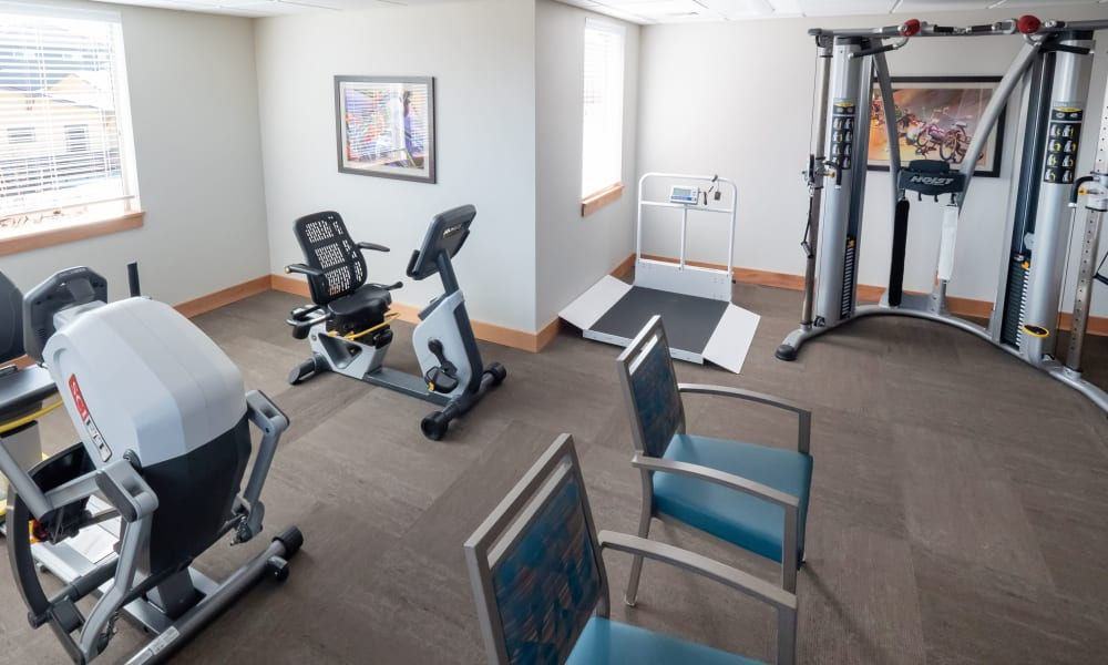 fitness room at Pear Valley Senior Living in Central Point, Oregon