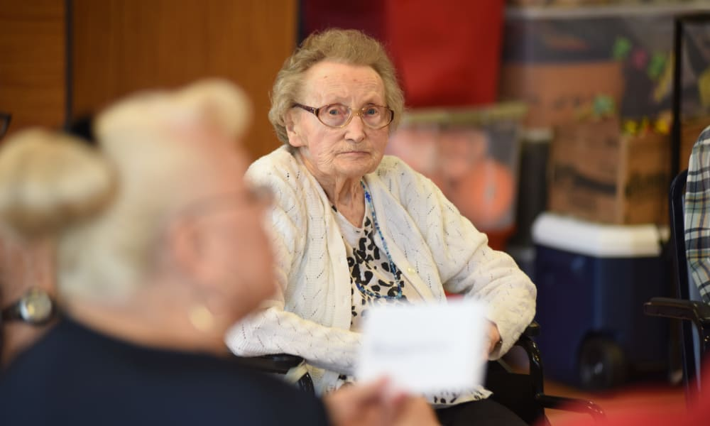 Resident during an event at Belle Reve Senior Living in Milford, Pennsylvania