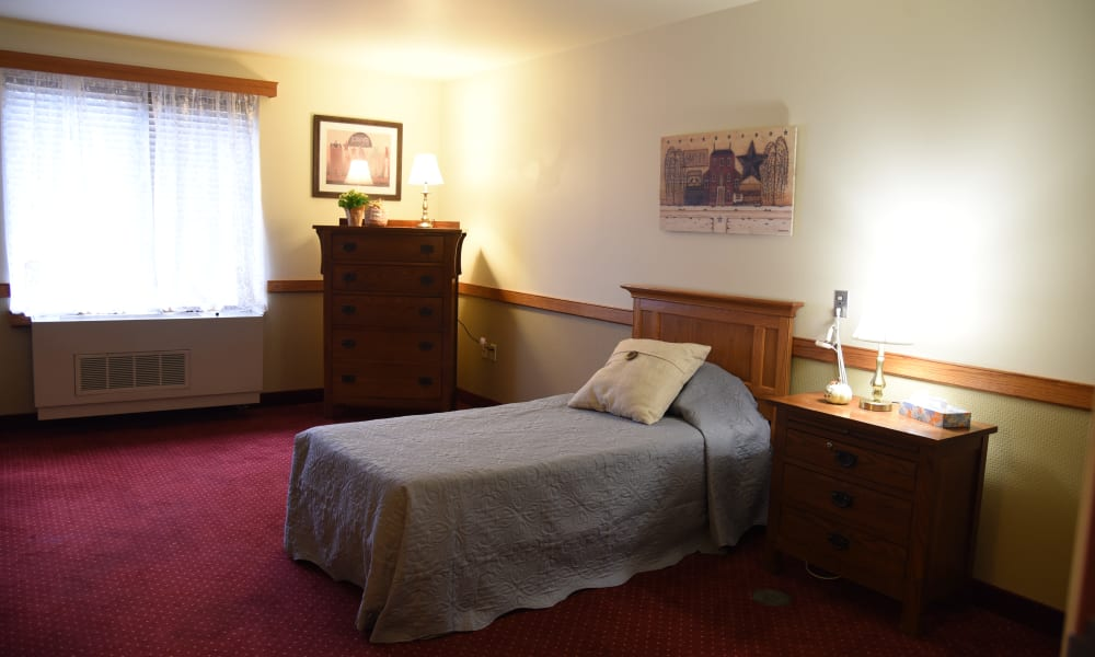 Model bedroom at Belle Reve Senior Living in Milford, Pennsylvania