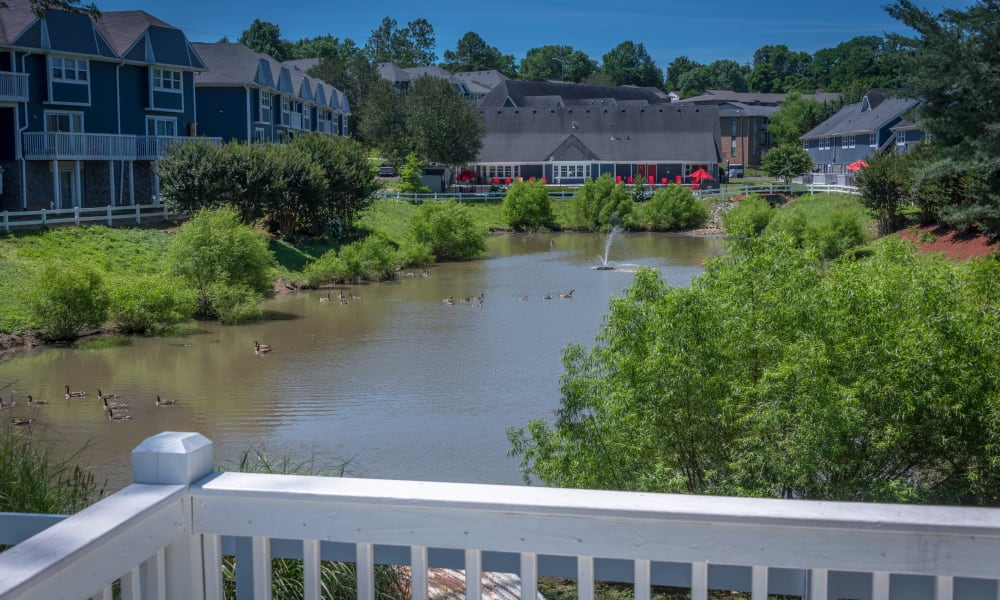 Balcony view from the 1st floor at Mallards Landing Apartment Homes in Nashville, Tennessee