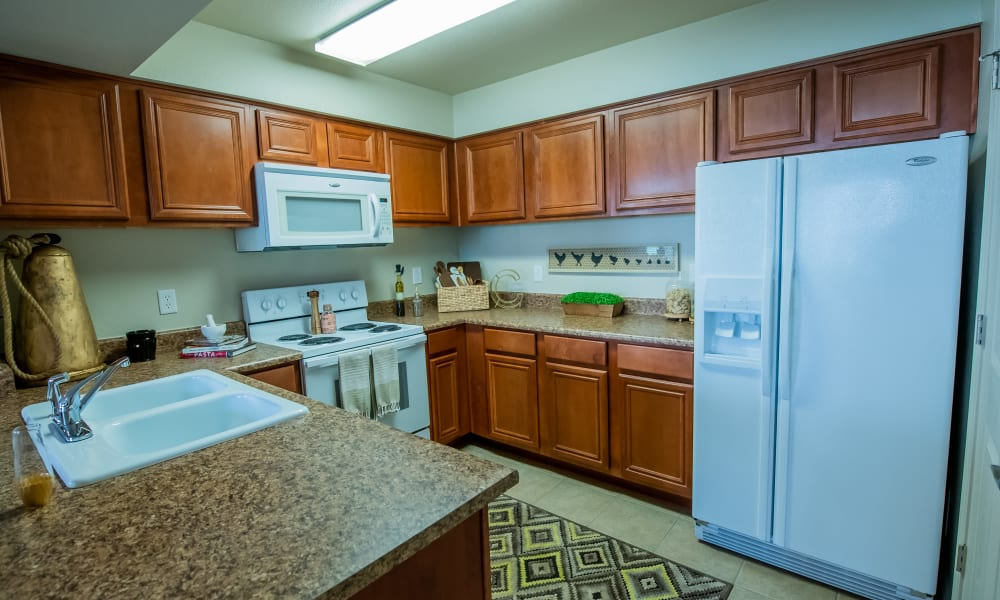 An apartment kitchen at Colonies at Hillside in Amarillo, Texas