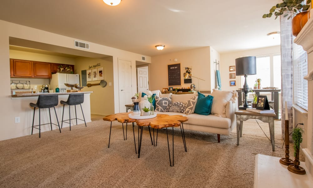 An apartment living room at Colonies at Hillside in Amarillo, Texas