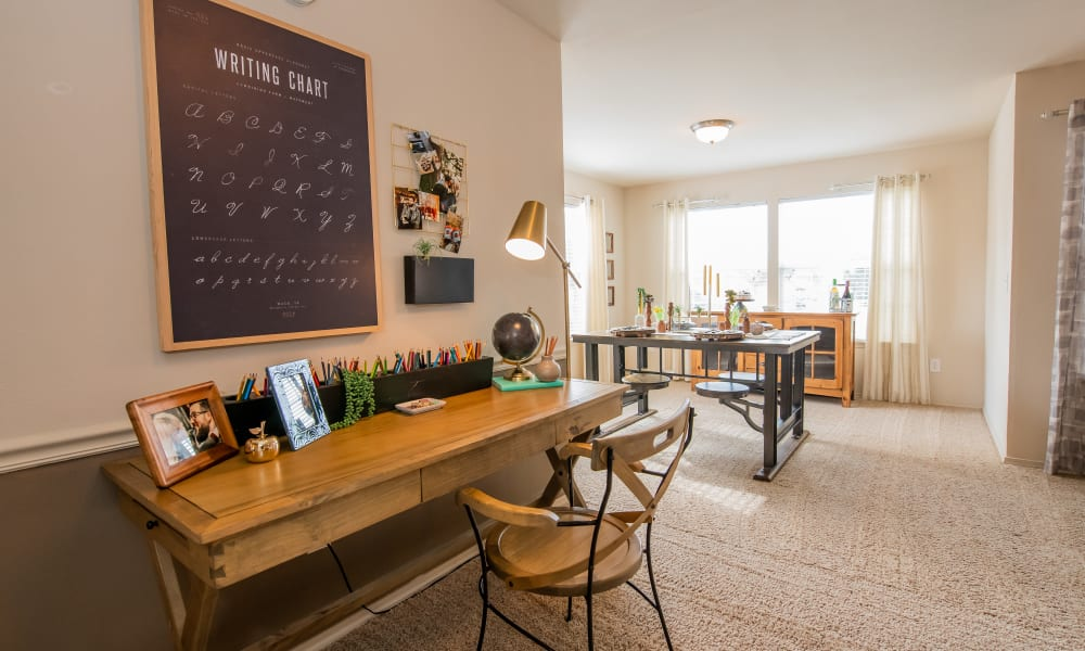 An apartment work station at Colonies at Hillside in Amarillo, Texas