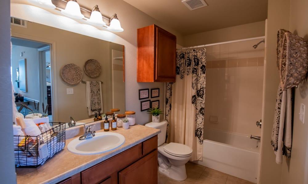 An apartment bathroom at Colonies at Hillside in Amarillo, Texas