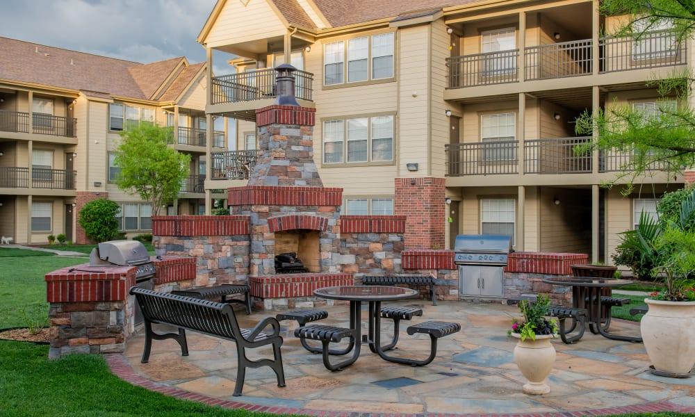 An outdoor patio area at Remington Apartments in Amarillo, TX