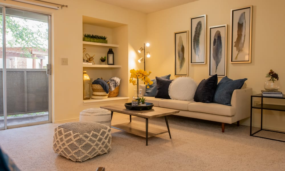 An apartment living room at Newport Apartments in Amarillo, Texas
