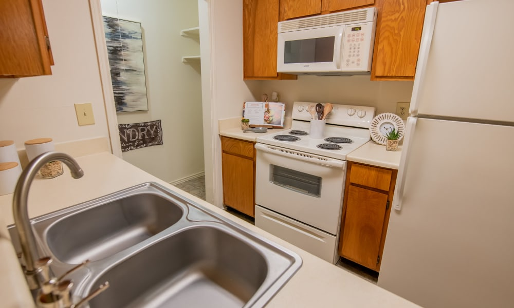 An apartment kitchen at Newport Apartments in Amarillo, Texas