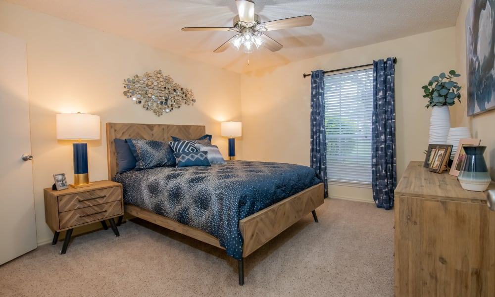 An apartment bedroom at Newport Apartments in Amarillo, Texas