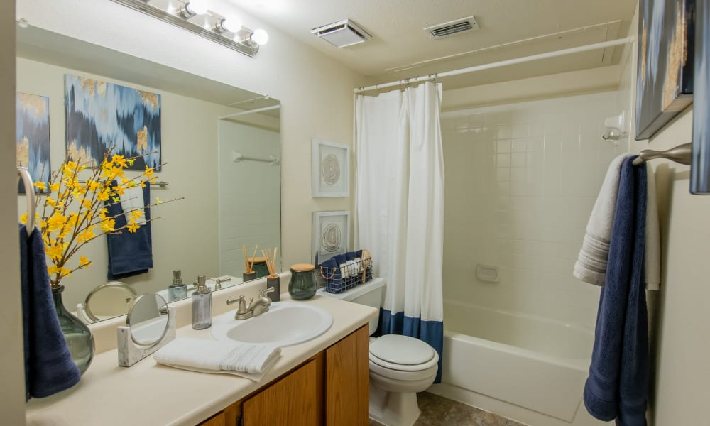 An apartment bathroom at Newport Apartments in Amarillo, Texas