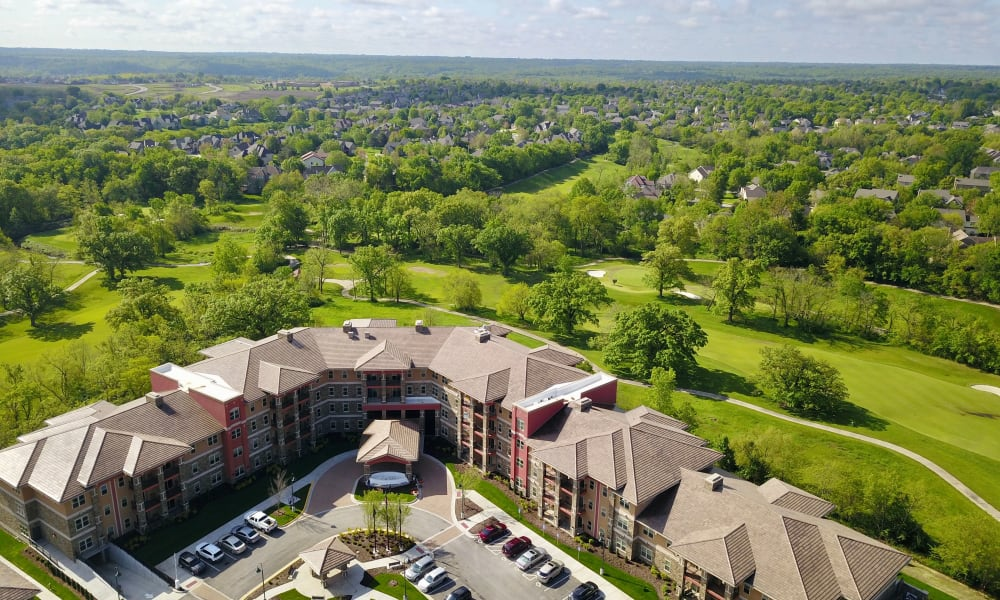 Fly-by view of Overland Property Group in Leawood, showcasing the on-site putting green