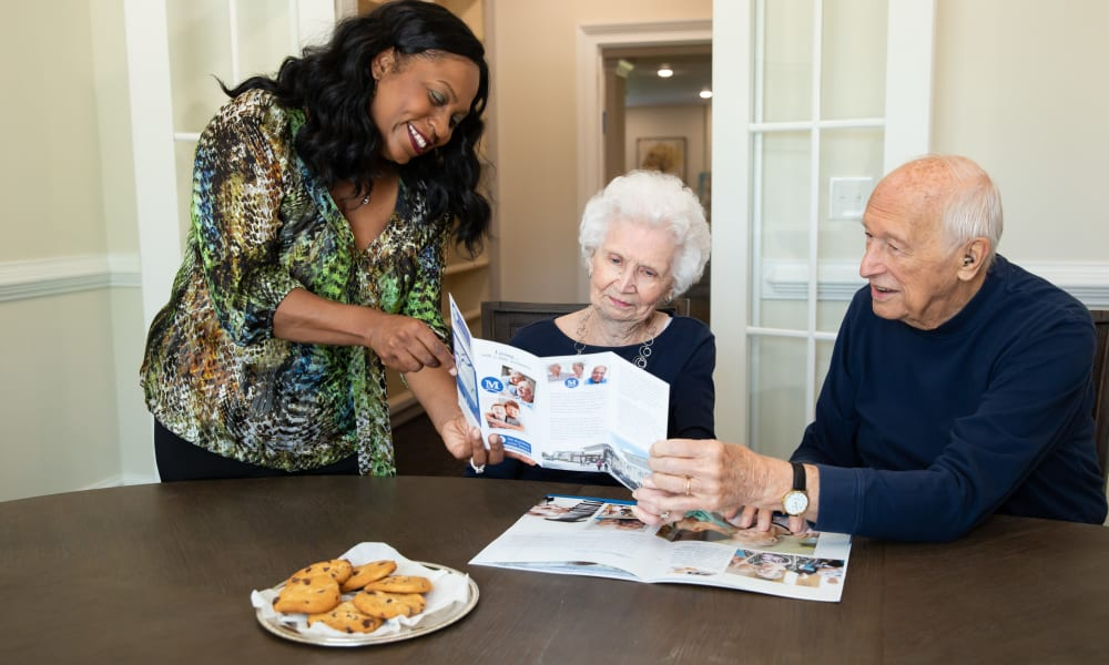 Residents ordering food at The Mansions at Sandy Springs Assisted Living and Memory Care in Peachtree Corners, Georgia