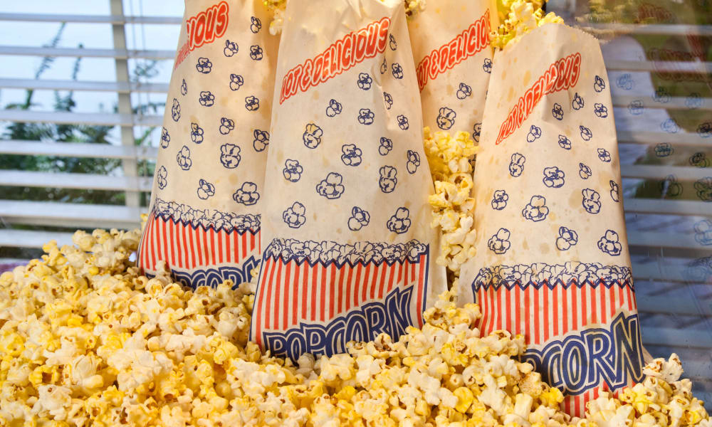popcorn fir the theater at Carriage Inn Conroe in Conroe, Texas
