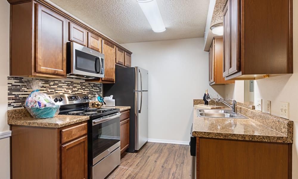 Kitchen with backsplash at Chapel Ridge at Chenal in Little Rock, Arkansas