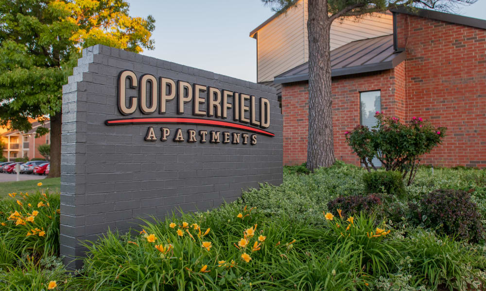 The sign for Copperfield Apartments in Oklahoma City, OK