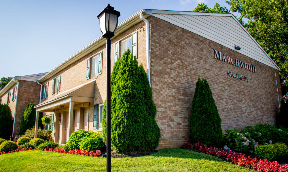 Exterior of apartment building at Marchwood Apartment Homes in Exton, Pennsylvania.