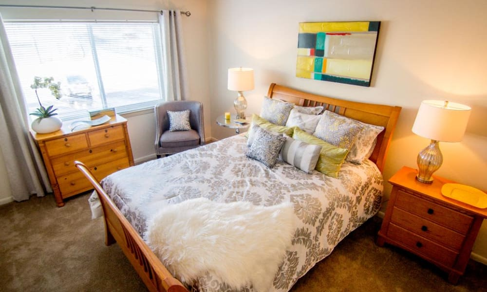 Bedrooms with large windows at Marchwood Apartment Homes in Exton, Pennsylvania.