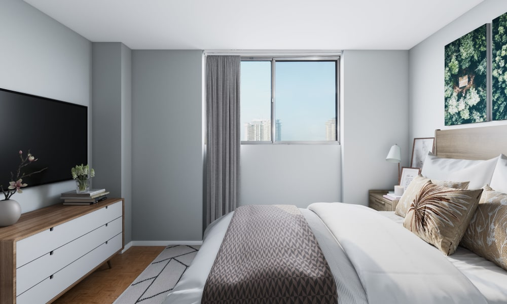 Cozy bedroom at Applewood on the Park in Mississauga, Ontario