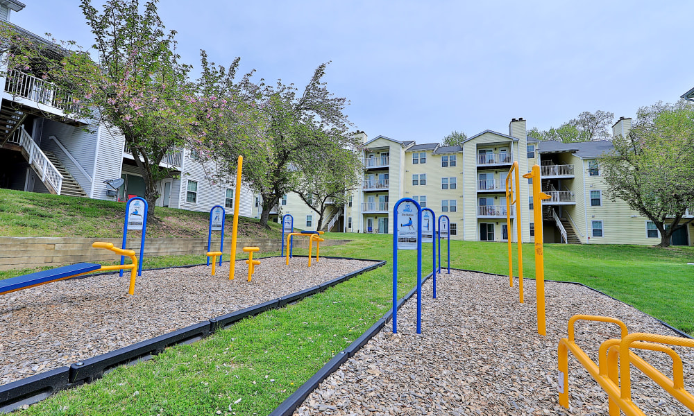 Outdoor Fitness Center at Chase Lea Apartment Homes in Owings Mills, Maryland