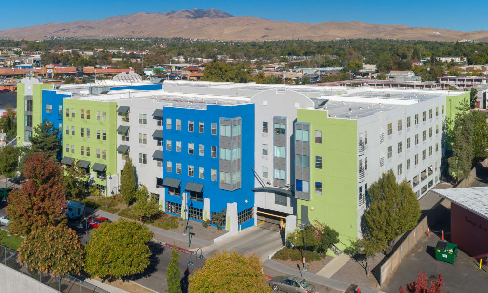 Aerial view of Courtyard Centre Apartments in Reno, Nevada