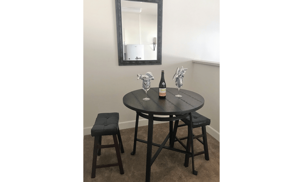 Dining room table at Courtyard Centre Apartments in Reno, Nevada.