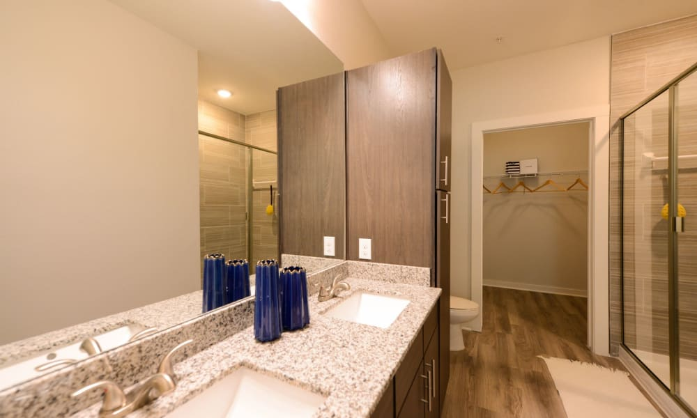 Bathroom with lots of counter space and storage at Luxor Club in Jacksonville, Florida