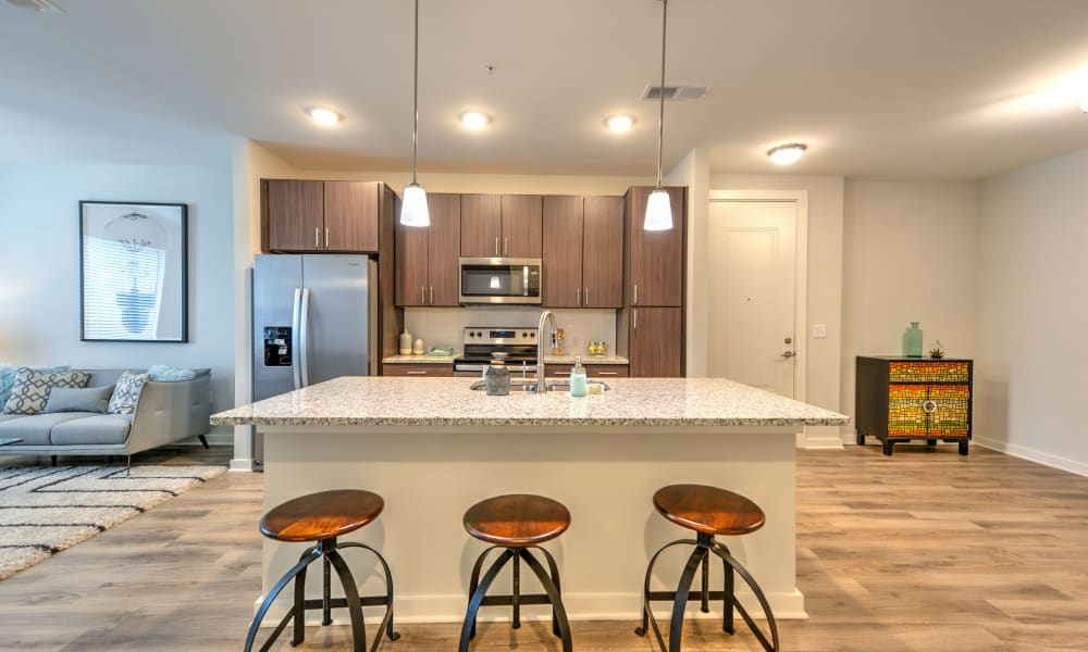 Kitchen at Apartments with breakfast bar at Luxor Club in Jacksonville, Florida