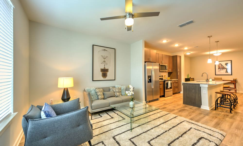 Enjoy spacious living room areas with fan and hardwood floors at Luxor Club in Jacksonville, Florida