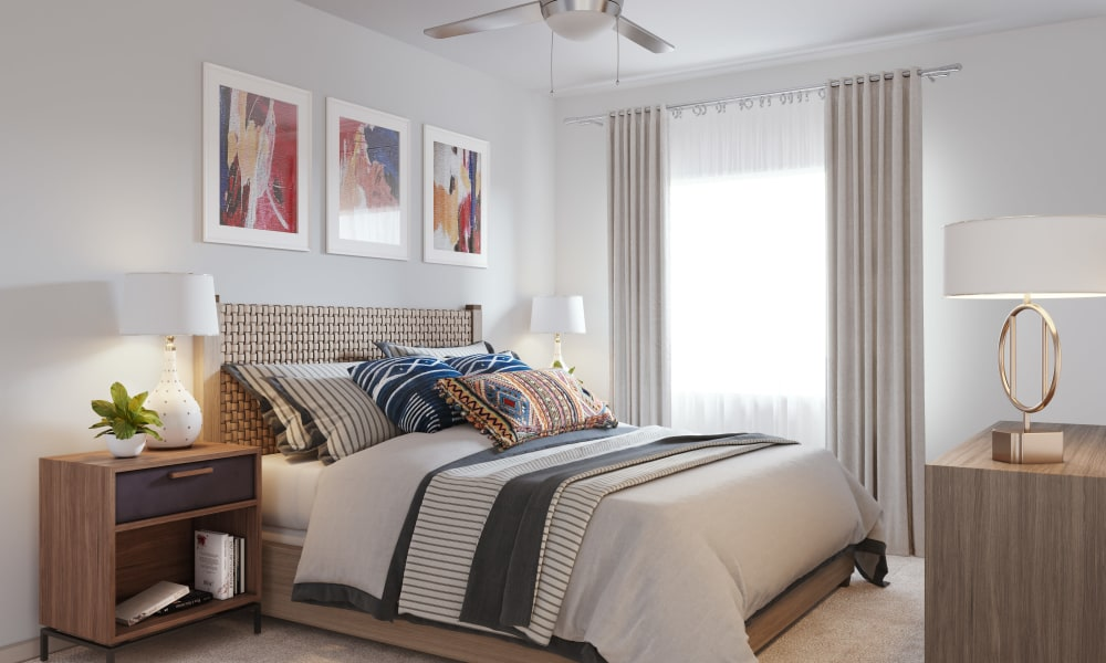 Master bedroom layout in the apartment at The District at Chandler in Chandler, Arizona
