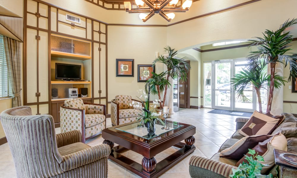 A luxury clubhouse at Emerald Dunes Apartments in Miami Gardens, Florida
