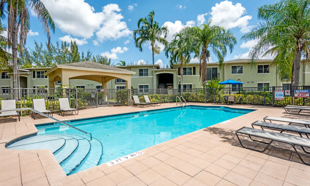 A luxury swimming pool at Emerald Dunes Apartments in Miami Gardens, Florida