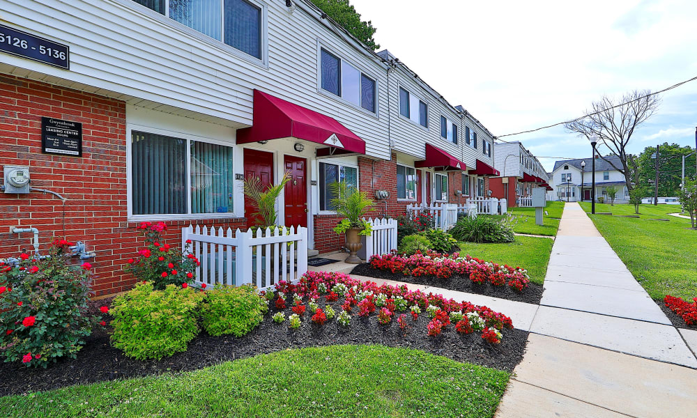 Exterior of Gwynnbrook Townhomes in Baltimore, Maryland